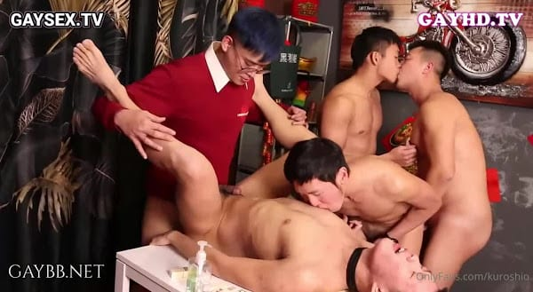 Gay group sex party